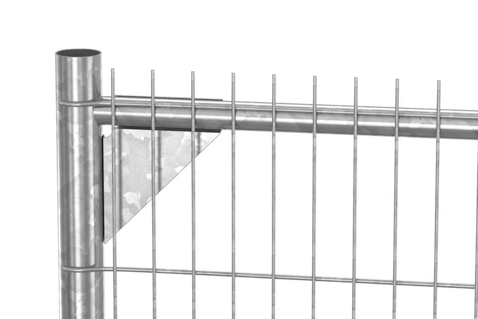 Close up of Heras anti-climb temporary fence, showing the c-bracket, narrow mesh an extruded wiring