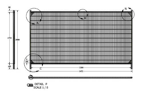 CAD drawing of an anti-climb rental fence panel M500
